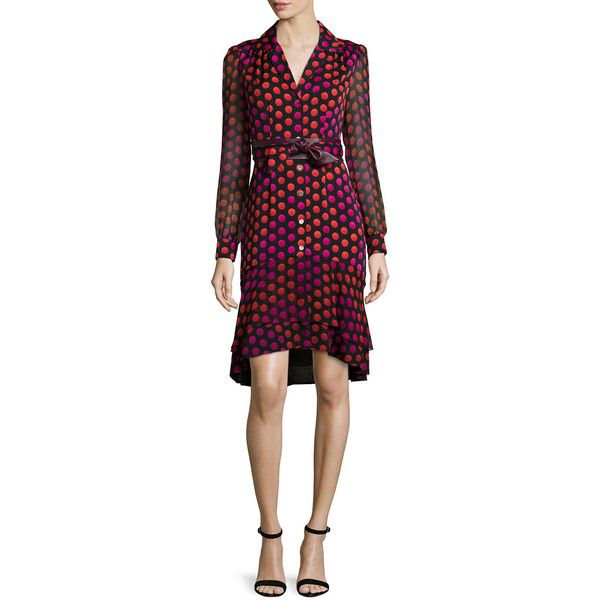 Diane von Furstenberg Catherine Two Giraffe Daze Dot Shirtdress ($645) ❤ liked on Polyvore featuring dresses, giraffe daze dot, polka dot dress, leather belt, sheer long sleeve dress, shirt dress and giraffe dress