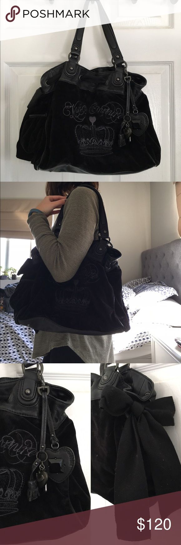 Juicy Couture Black Handbag Good condition Juicy handbag. Juicy couture logo on the front with the crown logo underneath. Charms shown in third photo on the front and black bow tied on the side of the bag.  Royal blue interior as photographed. The bag has a magnet clasp to shut the purse. Leather straps as well as leather on the bottom of the purse. ❌no low ball offers❌ ✨I can also do  ♏️ercari or e🅱️ay for cheaper prices, LET ME KNOW IF YOU'RE INTERESTED ✨ Juicy Couture Bags