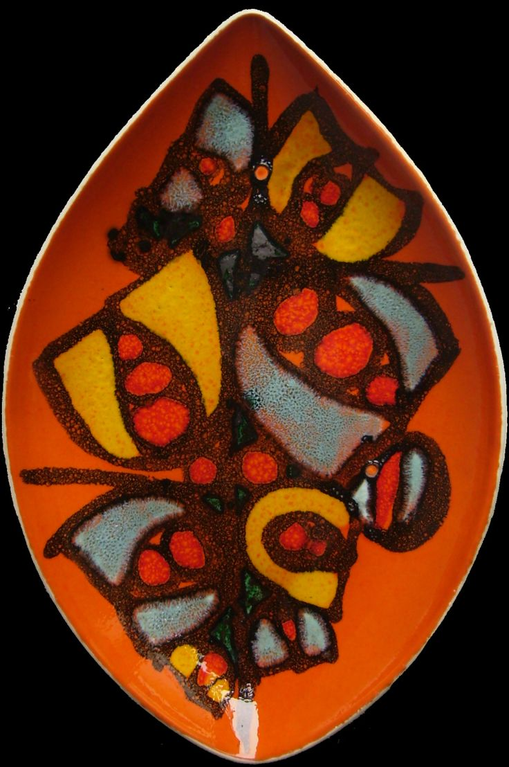 Poole Delphis Plate painted by Sarah Worrell 1970