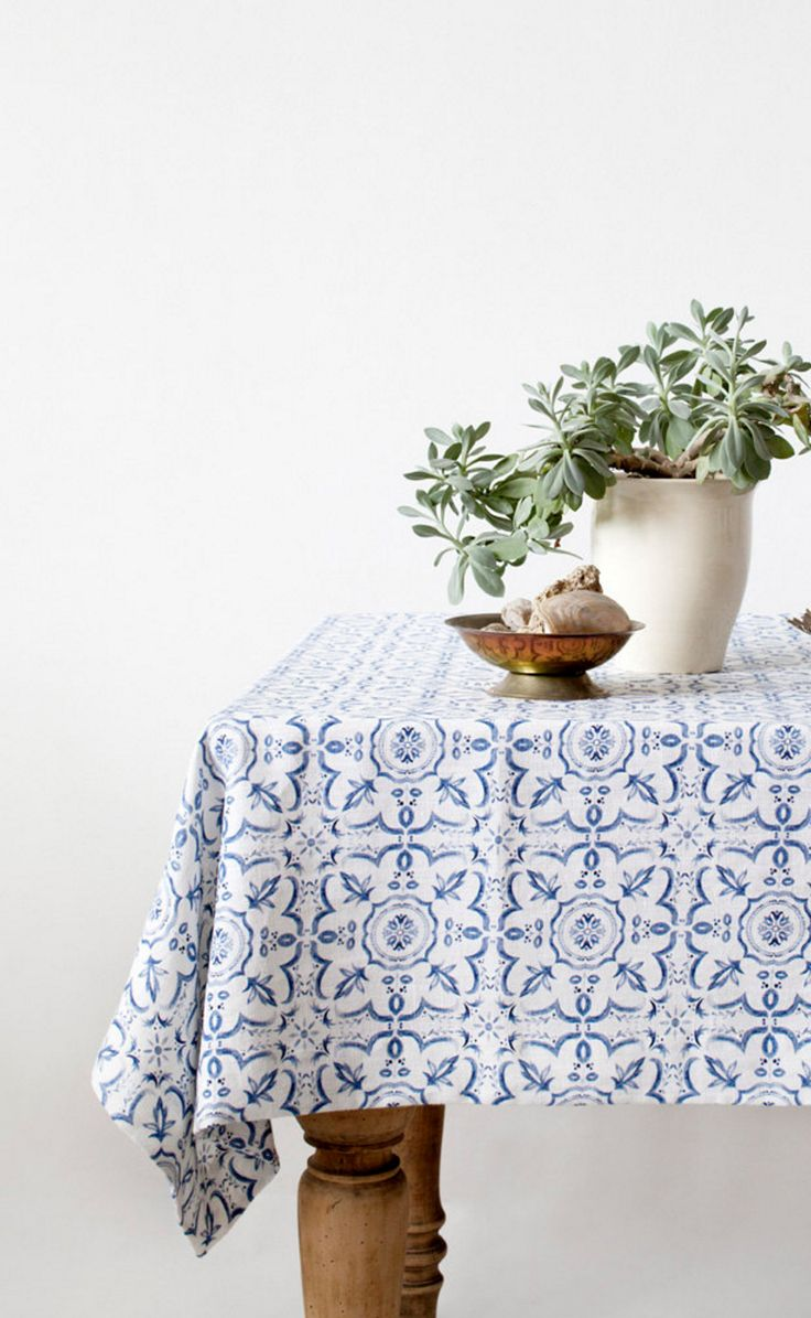 Patterned Linen Tablecloth | Linen Tales on Etsy