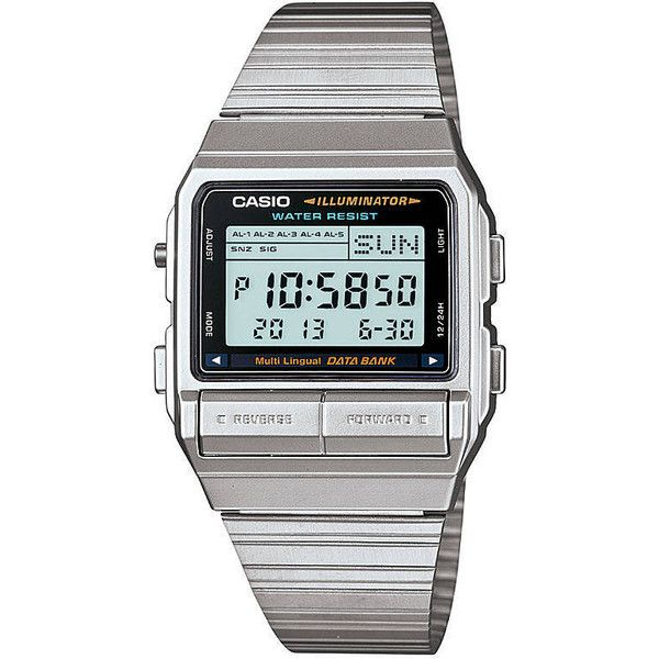 Casio Db380-1df Watch ($79) ❤ liked on Polyvore featuring jewelry, watches, silver, casio wrist watch, silver jewelry, digital wristwatch, casio watches and digital watches