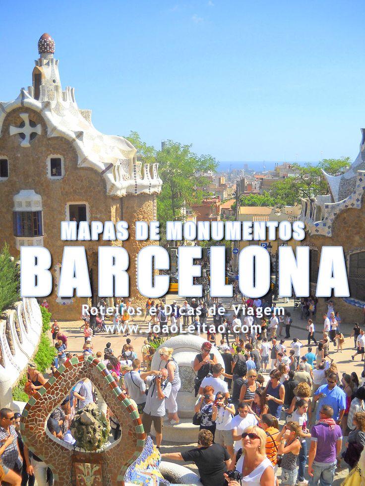 Mapa de Monumentos em Barcelona. Vários Mapas de Monumentos e 10 mais Famosos Monumentos para visitar em Barcelona, Espanha.