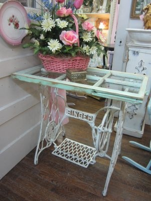 Shabby Chic White Wrought Iron Table w Shabby Six-Pane Window from mrswiggstreasuredheirlooms on Ruby Lane