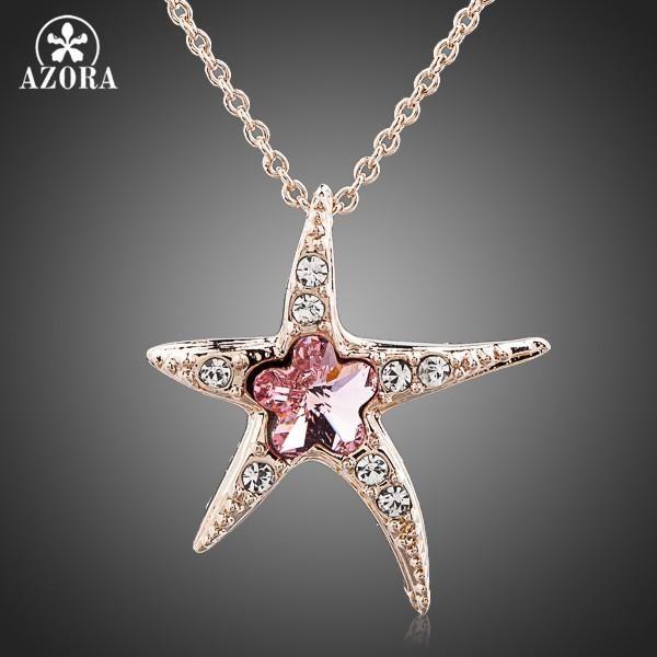 Pink Austrian Crystal Starfish Pendant Necklace