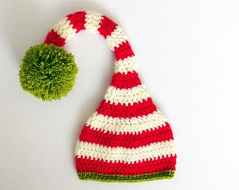 Baby Elf Hat, Newborn Christmas outfit, Crochet Baby Long Tail Hat, Infant Photo Prop, Newborn Elf Hat kids winter, Baby First Christmas