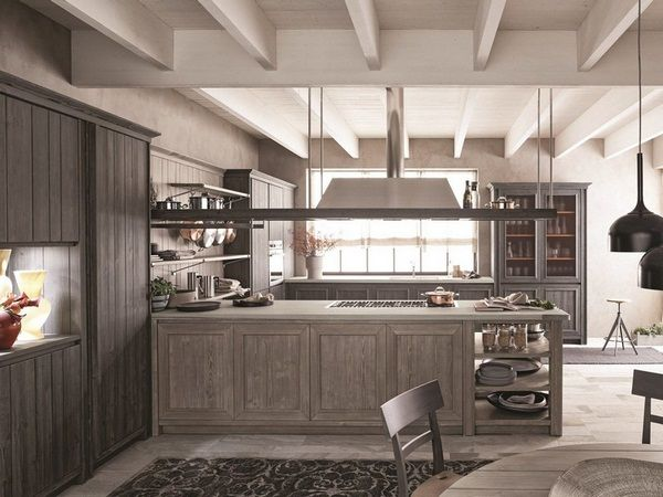 Mediterranean kitchen ash wood Kochinse hood