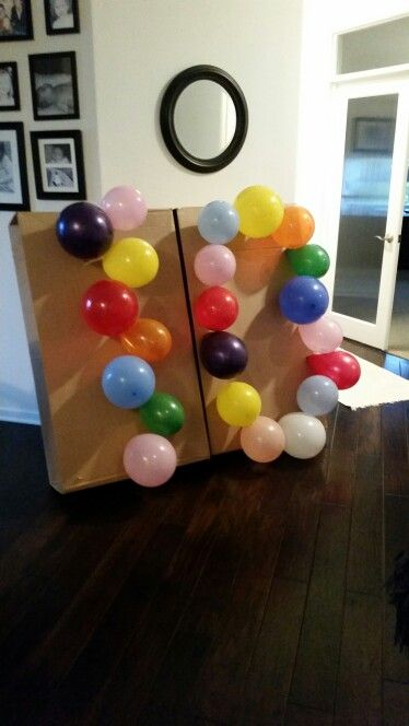 """""""10"""" year old bday party game. Balloon pop,  better then a pinata. Candy  inside!"""