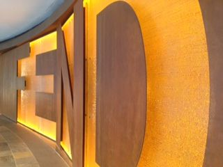 Fendi wall signage Singapore - scale, light and great use of materials