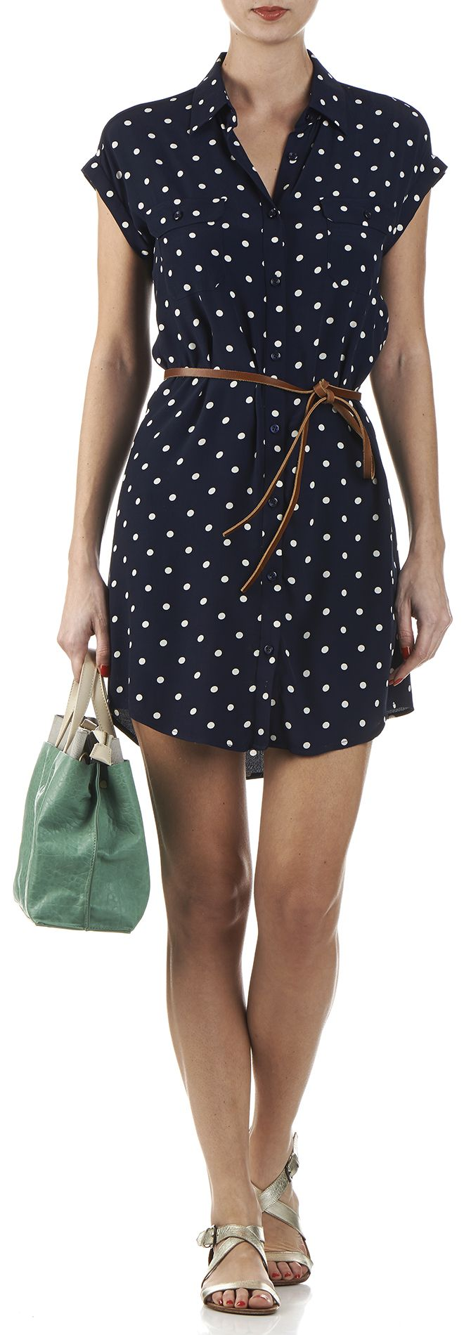 Robe chemise à pois Bleu by NICE THINGS