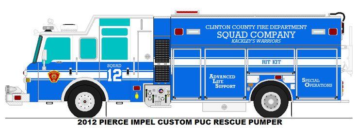 2012 PIERCE IMPEL CUSTOM PUC RESCUE PUMPER CLINTON COUNTY FD SQUAD 12