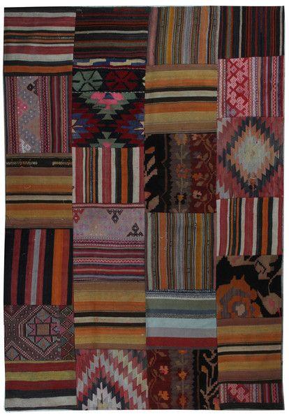 7'5''x5'5'' Traditional Pattern Rustic Kilim Patchwork Rug - TheOrientBazaar