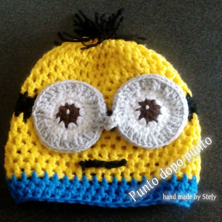 Cappello fatto a mano ad uncinetto. Bimbi ed adulti. Personaggio MINION. Misura 1-2 anni.  Crochet minion hat for child 1-2years.