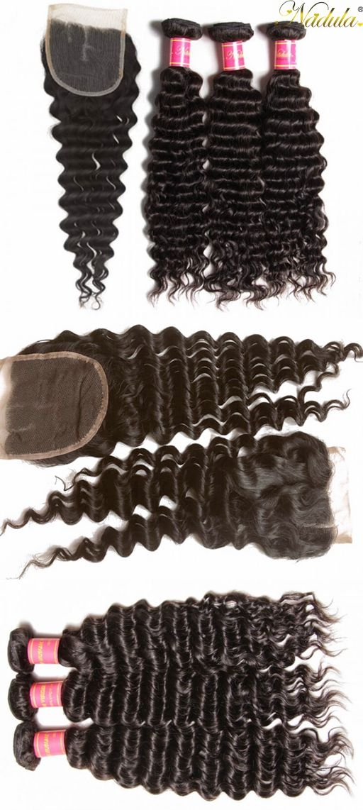 "High Quality Deep Wave Virgin Hair Weave 3 Bundles With A 4*4 Lace Closure--- #Nadula Soft Unprocessed Virgin Human Hair, Use Coupon Code ""nadulapin"" For $4 Off!"