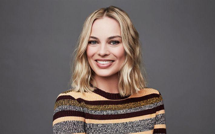 Herunterladen hintergrundbild margot elise robbie, australische schauspielerin, portrait, lächeln, berühmte blonde