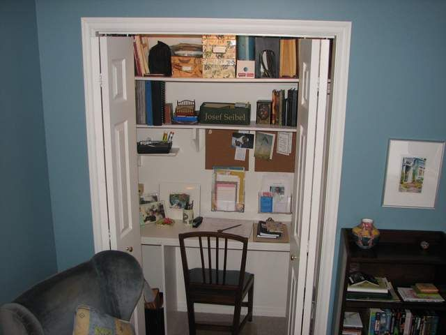 Desk Built Into Closet 35 best desks in a closet images on pinterest | closet desk