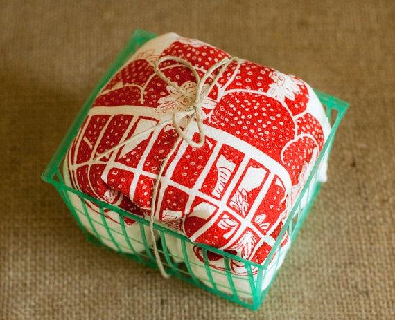 Strawberry Basket Flour Sack Dish Towel by tinaproduce on Etsy #shopumbabox #handmade