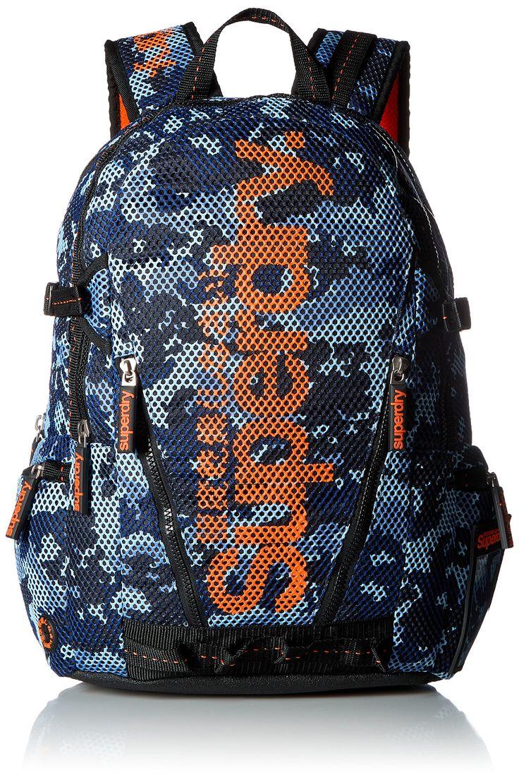 Superdry Men's Camo Mesh Backpack, Blue/Hazard Orange, One Size