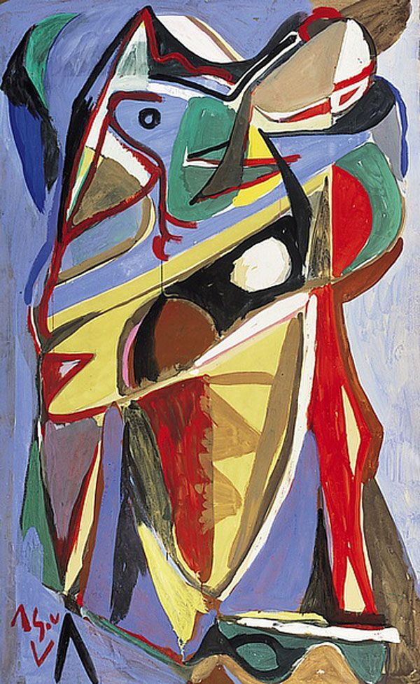 'Sans Titre'  Bram van Velde (1985-1991) was a Dutch painter known for an intensely colored and geometric semi-representational painting style related to Tachisme, and Lyrical Abstraction. Van Velde served as a conduit, bringing expressionist abstraction to Paris, mixing it with existentialism, and passing it on to the COBRA group in turn.