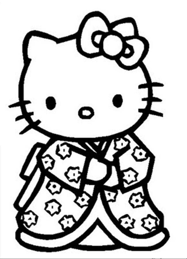 Hello Kitty Wearing A Kimono Coloring Pages Hello Kitty Coloring