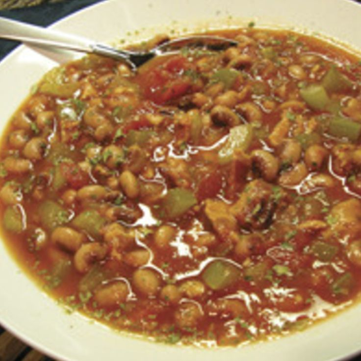 Spicy Black Eyed Pea Soup- Rotel, bacon, creole seasoning