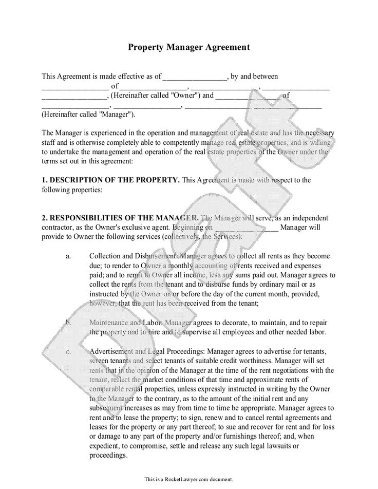 Sample Property Manager Agreement Form Template property - property management agreements
