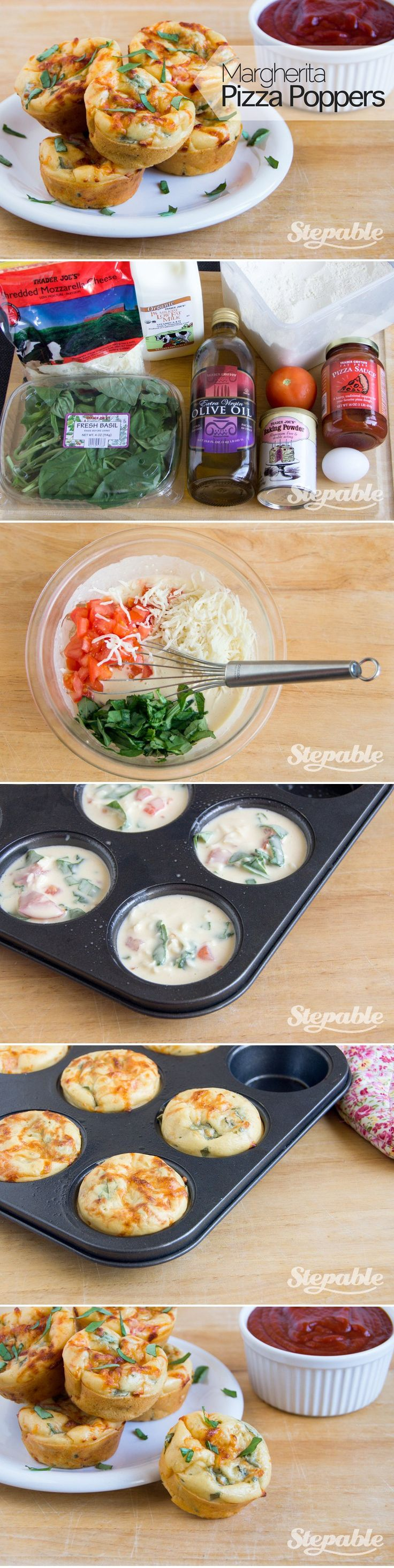 Margherita Pizza Poppers @Stepable #recipes