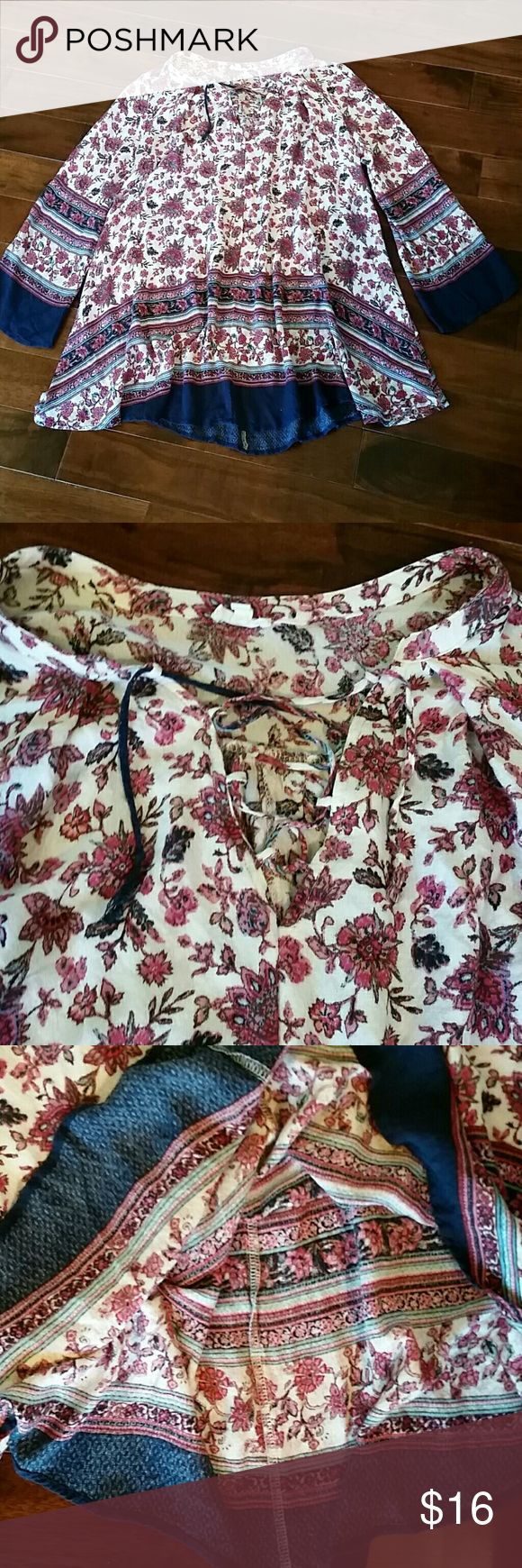 "BOHO Rayon Gauze Flowing Blouse  Sz S Armpit to armpit 25"", top to bottom 30.5"", sleeves 21"", floral print,  lace front, pinks, cream,blues, very thin and flowy en creme Tops Blouses"
