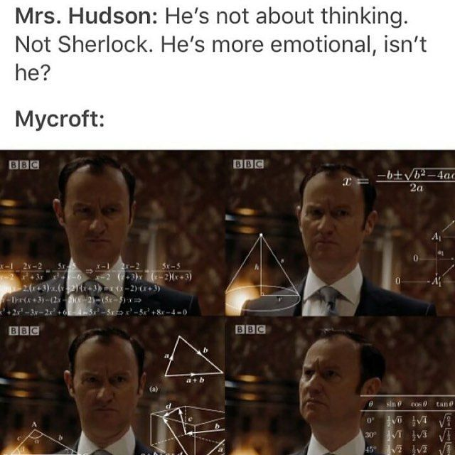 Mycroft when Mrs. Hudson says Sherlock is emotional xD (The Lying Detective)
