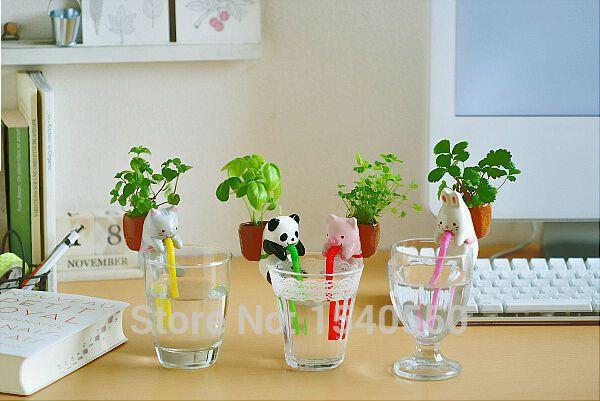Милые Животные Дизайн Офиса Настольные Растения Цветочный Горшок Автоматическая Водных Растений Горшки Для Домашнего Офиса Украшения Xmas Подарки Ко Дню Рождения купить на AliExpress