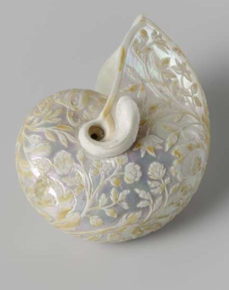 Nautilus shell carved with floral scrolls, by Cornelis Bellekin, 1650 - 1700.