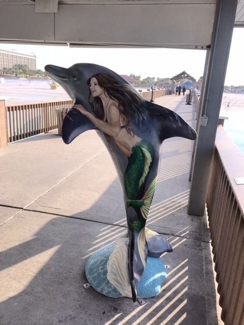 """Magical Mermaid Ride"" dolphin at Pier 60 Park, Clearwater Beach, part of the #ClearwatersDolphins Trail.  Artist:  Martha Dodd, Sponsor:  City Marine Dept."