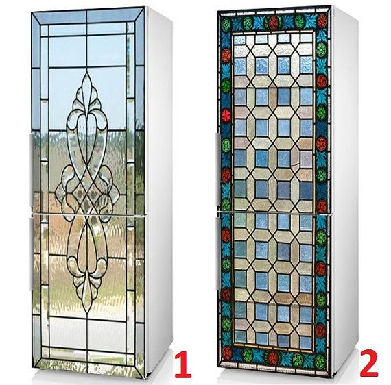 Fridge Decal Stained Glass With Bevels And Colorful