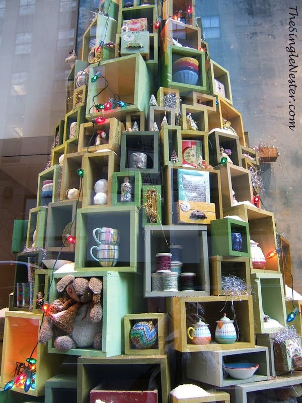 Anthropologie at Rockefeller Center - tree made from wood boxes
