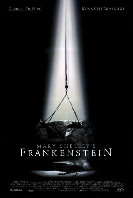 The movie poster for Mary Shelley's Frankenstein (1994). This American horror film directed by Kenneth Branagh and starring Robert De Niro and Branagh. It is considered the most faithful film adaptation of Mary Shelley's novel Frankenstein; or, The Modern Prometheus