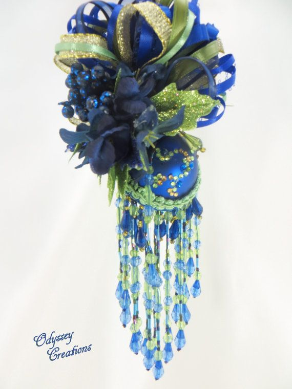 Royal Blue Christmas Ornaments Part - 44: RESERVED For Terrie - Royal Blue And Green Peacock Colored Victorian Beaded Christmas  Ornament Or Home Or Wedding Decor