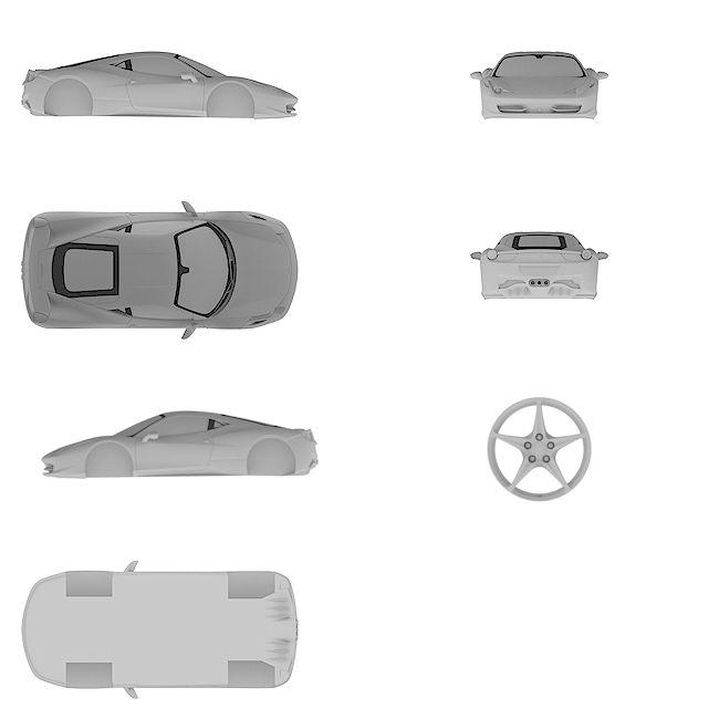 4k Ultra HD high resolution blueprint of Ferrari | 458 Italia