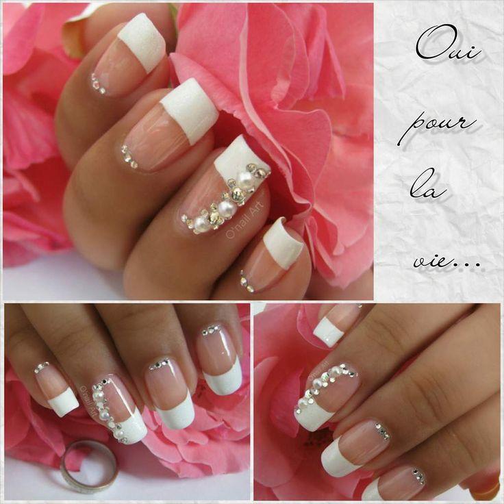 Nail Art de mariage  se dire oui pour la vie! Wedding nail strass and