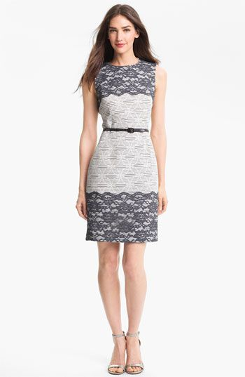 Lace Appliqué Print Sheath Dress