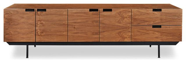 Structure Mid-Century Modern Sideboard Credenza, Walnut midcentury-buffets-and-sideboards