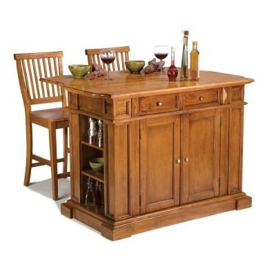 Home Styles 49-3/4 in. Kitchen Island in Cottage Oak with Two Stools-5004-948 at The Home Depot