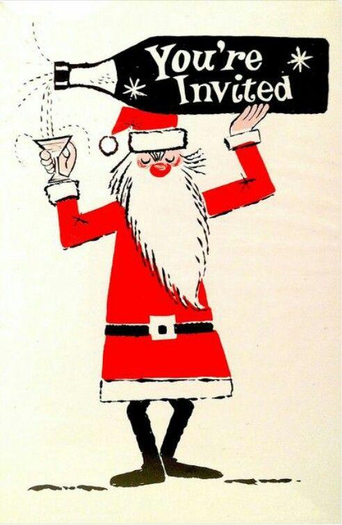 Vintage Mid Century Christmas Party /Happy Hour Invitation with Santa