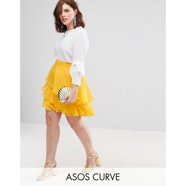 ASOS CURVE Mini Rara Skirt ($36) ❤ liked on Polyvore featuring skirts, mini skirts, plus size, yellow, high waisted mini skirt, yellow mini skirt, ruffle maxi skirt, plus size high waisted skirt and tall maxi skirt