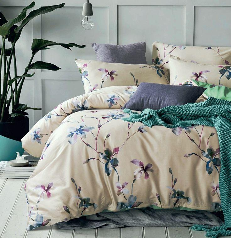 amazoncom modern watercolor flowers print duvet quilt cover 3pc set lilacu2026