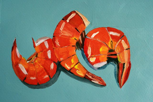"""Three little shrimps"", acrylic on paper."