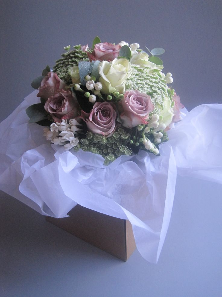bride's bouquet memory lane roses, avalanche roses, white bouvardia, dill flowers, eucalyptus