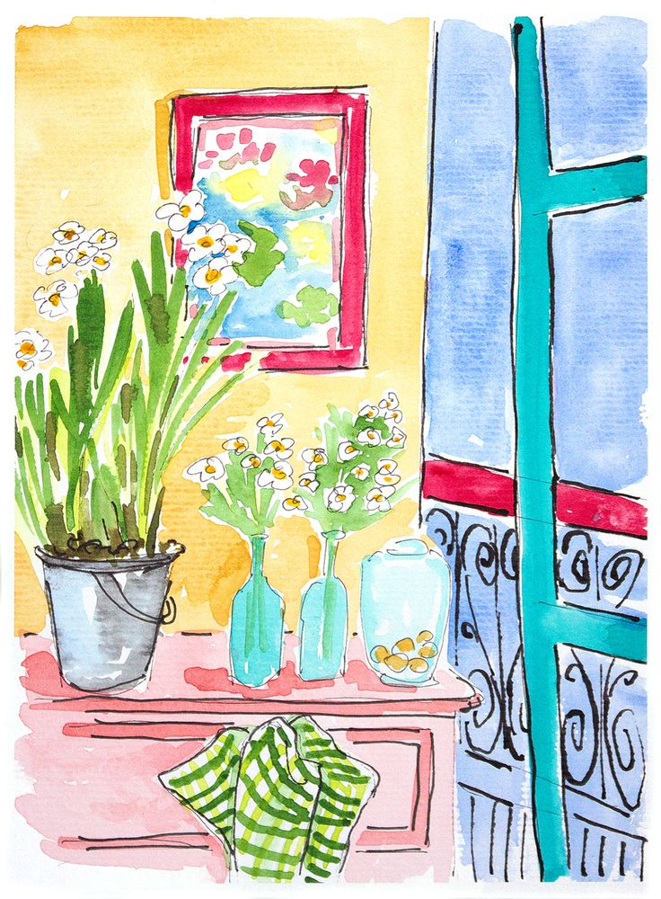 Narcis painting. Watercolor narcis in the room. Home decor flowers. Colorful wall art. Room with view. Whimsical painting.Wall decor narcis