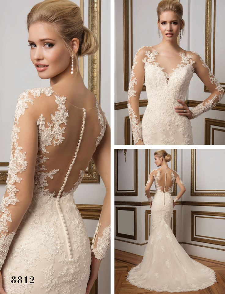 Justin Alexander's V-Neck Lace Gown (Style 8812) - Twilight Wedding Dress – Get the Look - EverAfterGuide