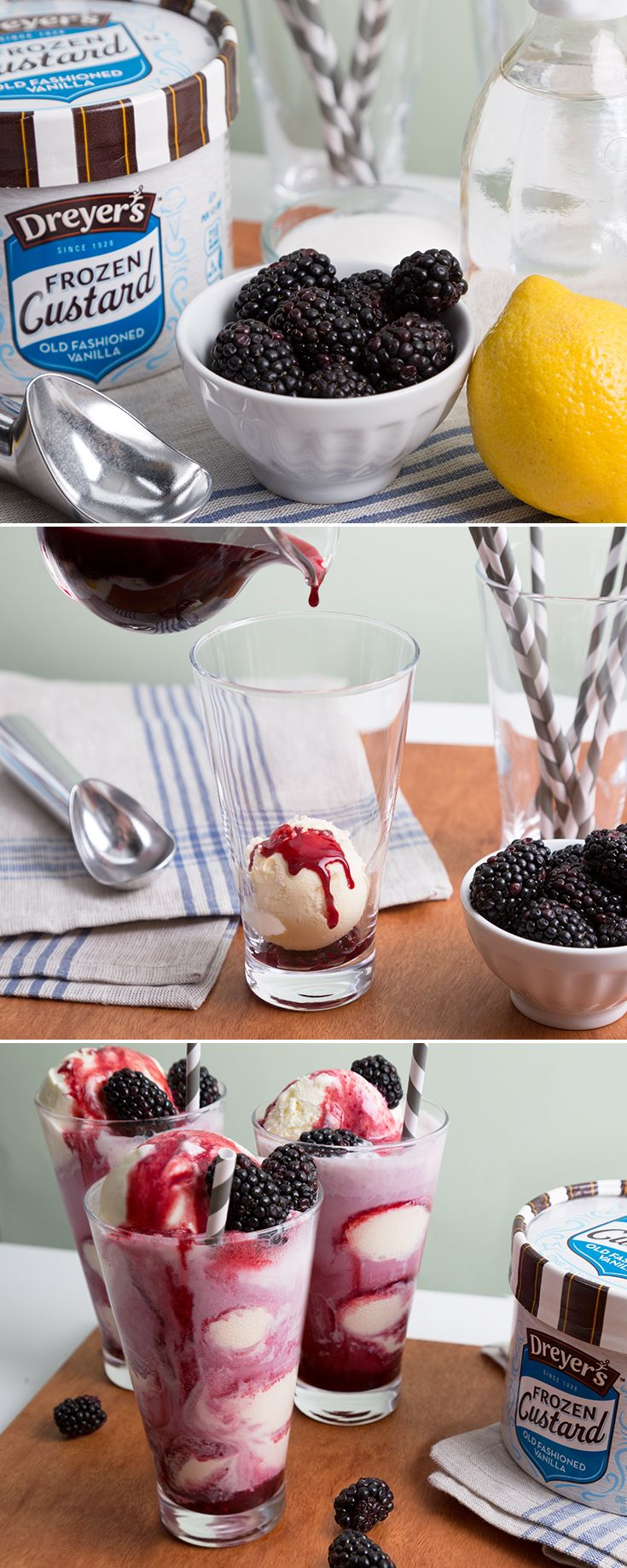 Dreyer's Frozen Custard Blackberry Sodas: Your entire family will think this frozen treat is berry delicious! Begin with a scoop of our extra thick and creamy Old Fashioned Vanilla Frozen Custard. Then, simply layer Frozen Custard and blackberry syrup (recipe below) into your glass. Top it off with soda water and blackberries! Blackberry syrup: boil down 1 cup fresh blackberries, 1/2 cup sugar, and 3 tablespoons lemon juice; then separate the liquid and the solids to make a syrup and a…