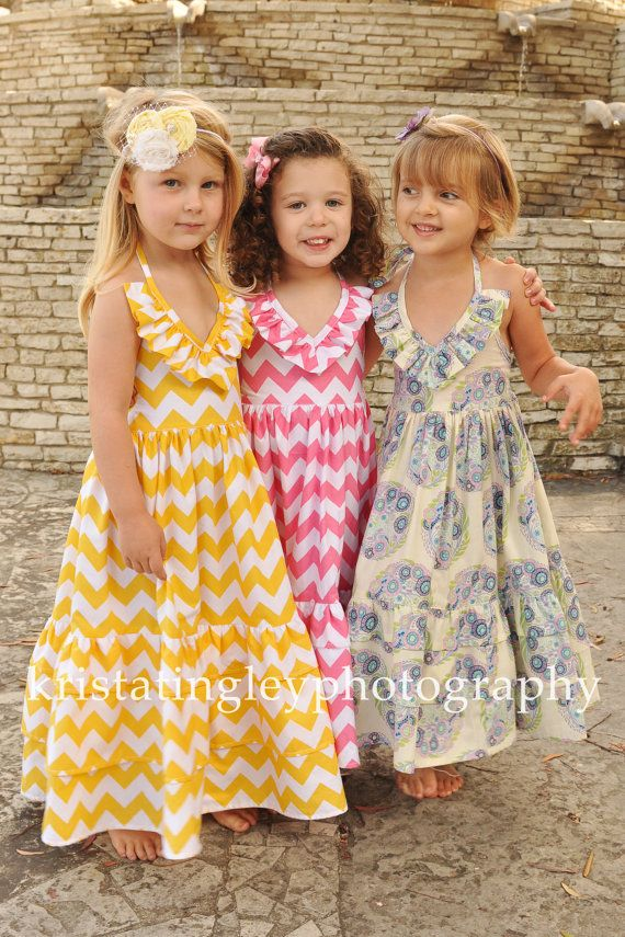 The Kate Olivia Ruffled Maxi Dress, 100% cotton, made for Infants, Toddlers, Girls, sizes 3T,4T,5T,6T,7T,8T via Etsy