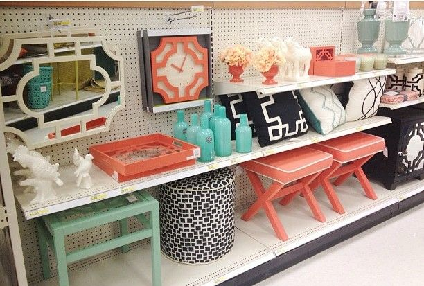 Master bedroom colors: navy, mint, coral, white & natural :) (Target)